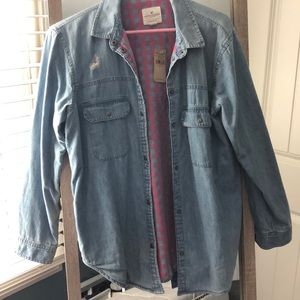 Chambray Jean jacket + adorable pink flannel